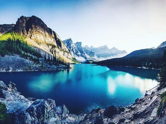 Glistening waters of Moraine Lake, Alberta