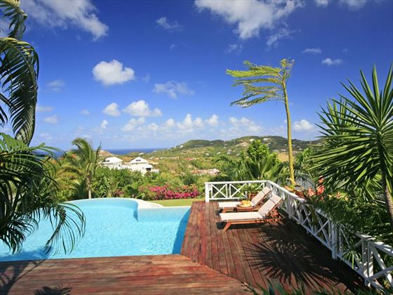 Enjoy the panoramic views from the sun terrace of Villa Kessi in St Lucia