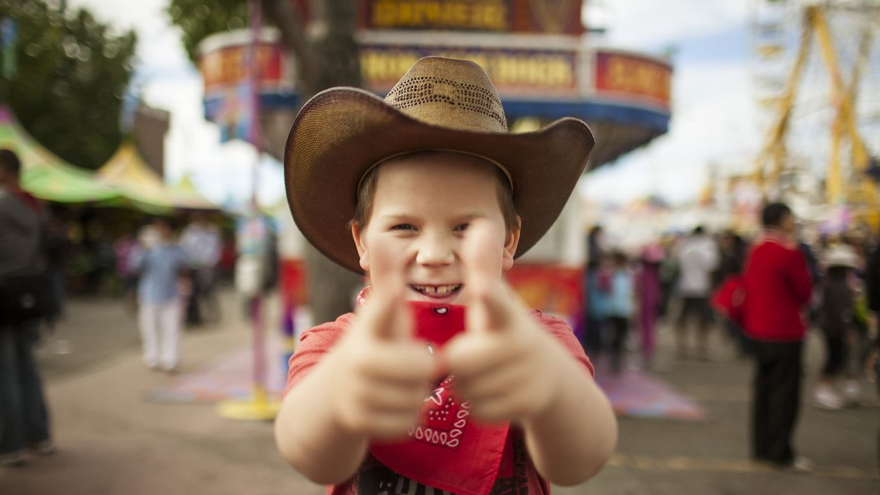 Child excited for the Calgary Stampede