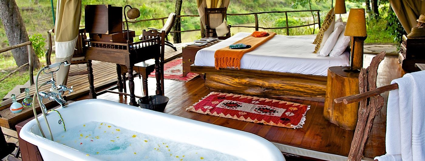 Mara Explorer Luxury Tented Camp private bathtub