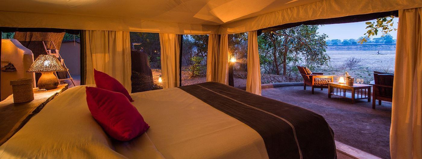 Tena Tena Camp tent interior and view