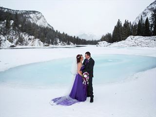 Bride & Groom on Bow Falls, Banff