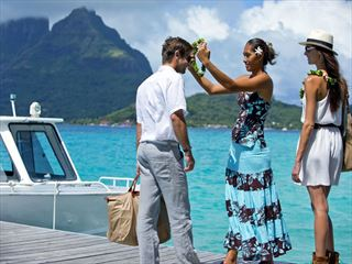 Arriving in Bora Bora by boat