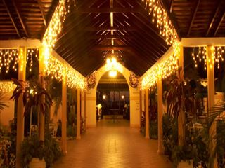 Entrance to St Lucian by rex resorts at night