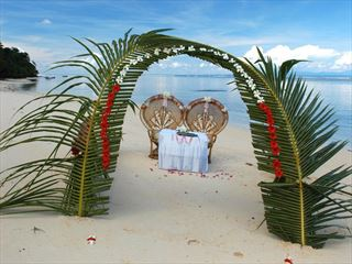 Beach wedding setting on La Digue