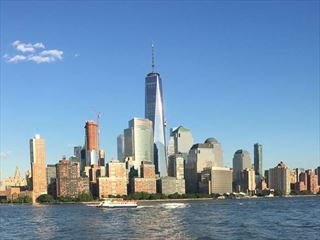 Views of One World Observatory from the Hudson