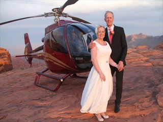 Bride, Groom and helicopter at the Valley Of Fire