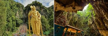Batu caves statue and inside the caves
