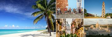 Beautiful Cuba Tour; Varadero Beach, Cuban Street Musicians, Cuban Sugar Plantation, Museum Revolution Havana, Old Havana Streets  (shown clockwise)
