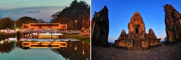 Highlights fo Vietnam and Cambodia: Siem Reap River at night, Ancient Angkor Wat Temple
