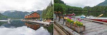 Great Bear Lodge, Lodge Exterior and Sea Plane and Summer Flowers on the Deck