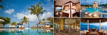Sandals Grand St Lucian; Lovers pool; Caribbean Honeymoon Oceanview Penthouse Club Level Bedroom, Main Pool, Gordons view of the Pitons, Bombay Club Restaurant