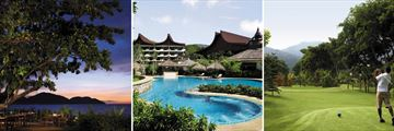 Luxury Malaysia Explorer; Pinang Bar Shangri Las Rasa Saya, Rasa Wing Swimming Pool, Pitch and Putt Golf Course.