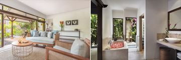 One Bedroom Garden Villa, living room and ensuite