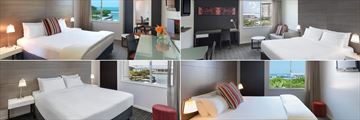 Adina Apartment Hotel Darwin Waterfront, (clockwise from top left): Premier Studio with View, Studio with View, Premier One Bedroom with View and Premier One Bedroom Queen with View