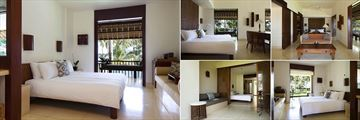 Alila Manggis, Deluxe Bedroom (left), Superior Bedroom and Suite (top left and right), Seaside Suite and Bedroom (bottom left and right)