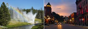 Yellowstone National Park in Wyoming (left), and Deadwood in South Dakota (right)