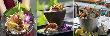 Anantara Mai Khao Phuket Villas, La Sala Thai Snacks, Somtam with Prawns and Sea.Fire.Salt Poached Chilled Seafood Bucket