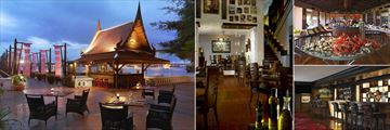 Anantara Riverside Bangkok Resort, (clockwise from left): Longtail Bar, Brio, Trader Vic's Sunday Brunch and Elephant Bar