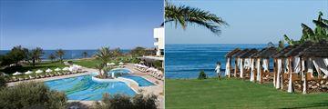 The pool and beach cabanas at Constantinou Bros Athena Royal Beach Hotel