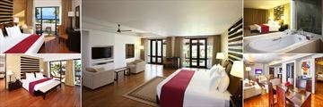 AVANI Bentota, (clockwise from top left): Superior Room, Deluxe Room, Deluxe Room Bathroom, Bawa Villa and Avani Suite