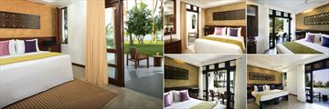 AVANI Kalutara, (clockwise from left): Superior Lagoon View Room, Standard Courtyard View Room, Superior Ocean View Room, Deluxe Ocean View Room and Deluxe Lagoon View Room