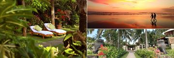 The tropical gardens and beach at Bali Mandira
