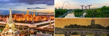 Grand Palace, Bangkok (left), and Singapore (right)