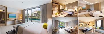 Bangsak Merlin, (clockwise from left): Pool Access Suite, Superior Room, Family Room, Pool Villa and Superior Pool Access Room