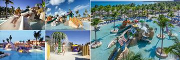 Barcelo Maya Palace (clockwise from top left): Barcy Water Park Slide, Barcy Water Park Slide, Aerial View of Barcy Water Park, Barcy Water Park Rainshower and Pirates Island