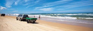 Driving along the beach on Fraser Island