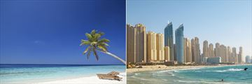 Beach in the Maldives and Dubai Skyline & Beach