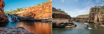 Bell Gorge on Gibb River Road (left), and cruising through Katherine Gorge (right)