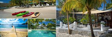 Bequia Plantation Hotel, (clockwise from top left): Kayaks in Front of Beach Bar, Beach Bar, Pool and Beach