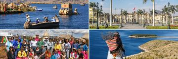 Clockwise from top left: Lake Titicaca, the city of Lima, and visiting locals