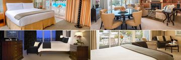 Beverly Hilton, (clockwise from top left): Cabana King Room, Penthouse Suite, Wilshire Studio Suite and Governors Suite