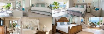 Blue Waters, (clockwise from top left): Hillside Junior Suite, Luxury Suite, Cove Suite and Pelican House Bedroom