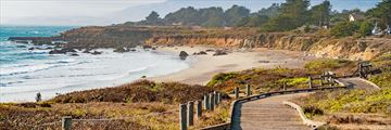 Scenic boardwalk on Moonstone Beach, Cambria, California