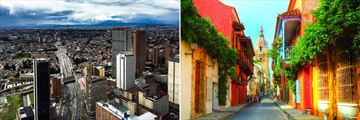 Bogota's city (left), and Cartagena's colourful streets (right)