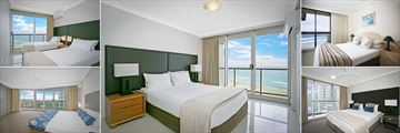 Twin Bed Two Bedroom Deluxe Apartment, Two Bedroom Deluxe Apartment Master Room, One Bedroom Apartment, Two Bedroom Apartment and Three Bedroom Penthouse Apartment Bedrooms at BreakFree Peninsula