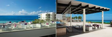 Purple Roof Terrace (left) and FOAM (right) at Breathless Riviera Cancun