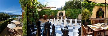 Browns Boutique Hotel, Courtyard and Views, Giant Chess Board and Courtyard Table Setting