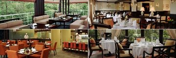 Clockwise from top left: Gonbei, Dining Room, Dining Room terrace, and Gonbei at Cameron Highlands Resort