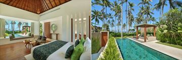 Candi Beach Resort & Spa, Luxury Ocean View Pool Villa Bedroom and Exterior