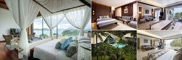 Cape Panwa, (clockwise from left): The Cape Absolute Suite, Junior Suite, Cape Suite, Cape Signature Suite and Pool Villa