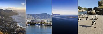 Cape Town aerial view, V&A waterfront, Robben Island and Boulders Beach