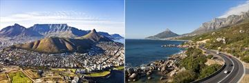Aerial views of Cape Town and Table Mountain