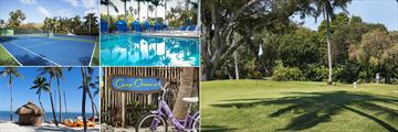 Cheeca Lodge & Spa, (clockwise from top left): Tennis, Pool, Golf, Camp Cheeca and Watersports