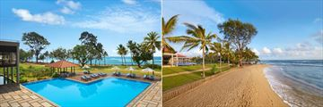 Cinnamon Bey Beruwala, Deluxe Wing Pool and Main Pool View From Beach
