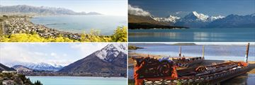 Clockwise from top left: Kaikoura, Mt Cook, Rotorua and Queenstown